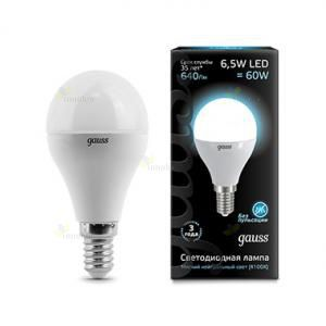 Gauss LED A60 Globe E14 6.5W 4100K