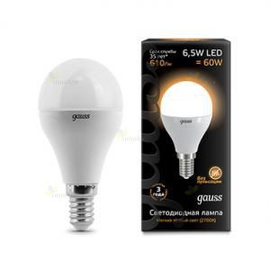 Gauss LED A60 Globe E14 6.5W 2700K
